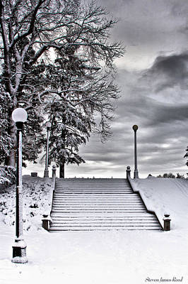 Art Print featuring the photograph Snow Stairs by Steven Reed