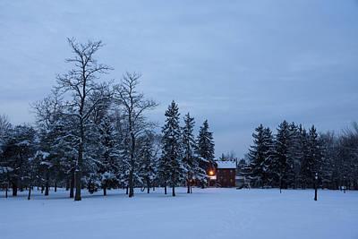 Christmas Holiday Scenery Photograph - Snow Stillness And Warm House Lights by Georgia Mizuleva