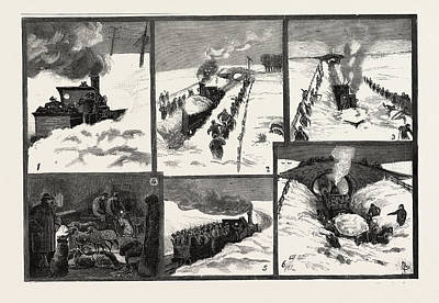 Snow Storm In The North Of England, Snow-plough Clearing Art Print