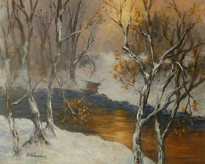 Snow Sunset Paintings Art Print