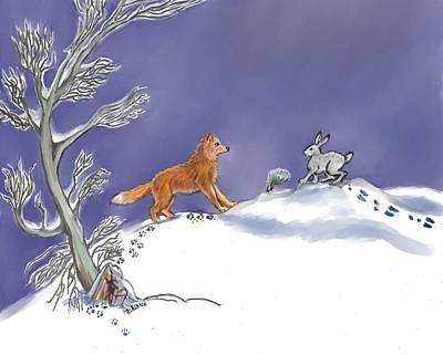 Fox Digital Art - Snow Tang - Story Illustration Age 12 by Dawn Senior-Trask