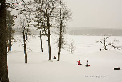 Art Print featuring the photograph Snow Tubing In The Poconos by Ann Murphy