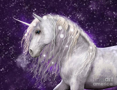 Snow Unicorn With Purple Background Art Print