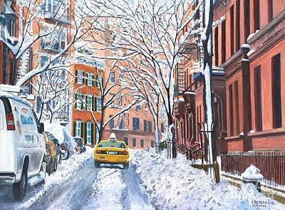 Car Painting - Snow West Village New York City by Anthony Butera