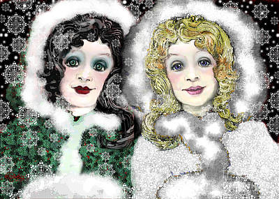 Digital Art - Snow White And Rose Red by Carol Jacobs