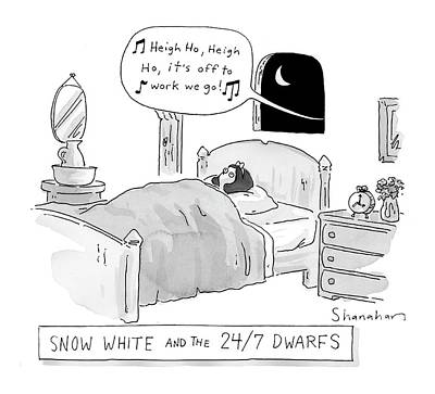 Snow Scenes Drawing - 'snow White And The 24/7 Dwarfs by Danny Shanahan
