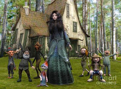 Digital Art - Snow White And The Seven Dwarfs by Jutta Maria Pusl