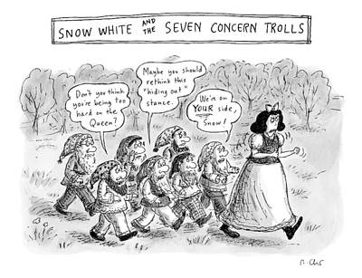 Princess Drawing - Snow White Is Storming Away From A Group Of Seven by Roz Chast