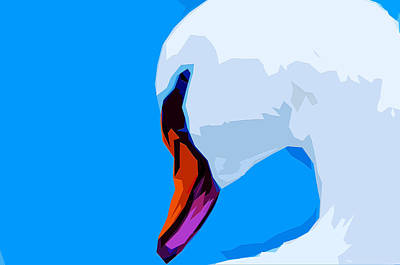 Nibs Mixed Media - Snow White Swan by Brian Stevens