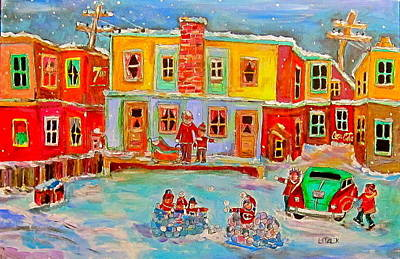 Litvack Painting - Snowball Fight by Michael Litvack