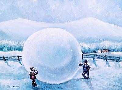 Barns In Snow Painting - Snowball Fight by Shana Rowe Jackson