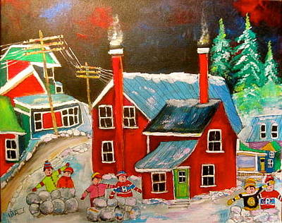 Snowball Fort Painting - Snowball Forts by Michael Litvack