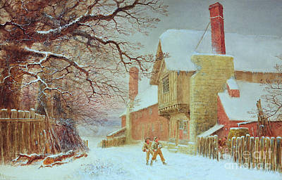 Snowball Fights Painting - Snowballing At Tiddlington by William W Quatremain