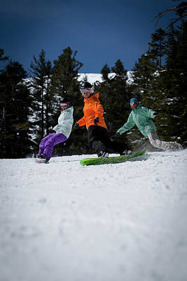 Chairlift Photograph - Snowboard Instructor Riding And Giving by Trevor Clark