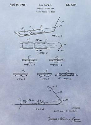 Ski Mixed Media - Snowboard Patent by Dan Sproul