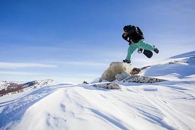 Big Cottonwood Canyon Photograph - Snowboarder Jumping by Ben Girardi