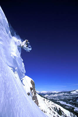 Snowboarder Launching Off A Cornice Art Print