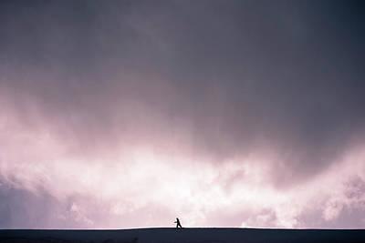 Snowboarder Preparing To Drop A Cornice Art Print