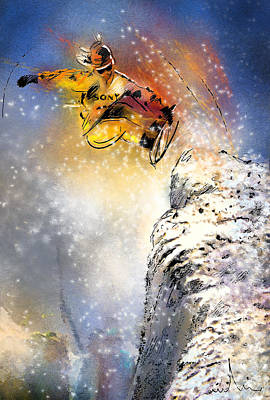 Extreme Sports Painting - Snowboarding 01 by Miki De Goodaboom
