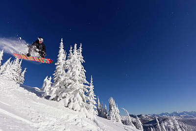 Whitefish Photograph - Snowboarding Action At Whitefish by Chuck Haney
