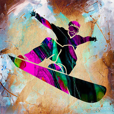 Mixed Media - Snowboarding Down A Snow Covered Mountain by Marvin Blaine