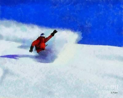 Snowboarding  Print by Elizabeth Coats