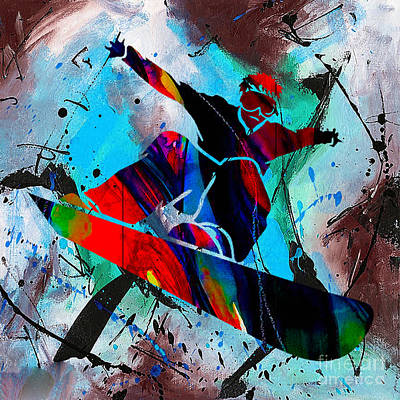 Winter Sports Mixed Media - Snowboarding Painting by Marvin Blaine