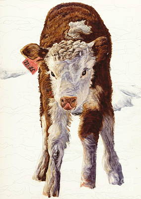 Painting - Country Life Winter Baby Calf by Dale Jackson