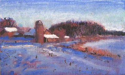 Red Barn In Winter Painting - Snowbound by David Zimmerman