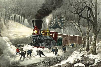 Snowbound Photograph - Snowbound Locomotive 1871 by Padre Art