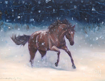 Bay Thoroughbred Painting - Snowbounding by Linda Shantz