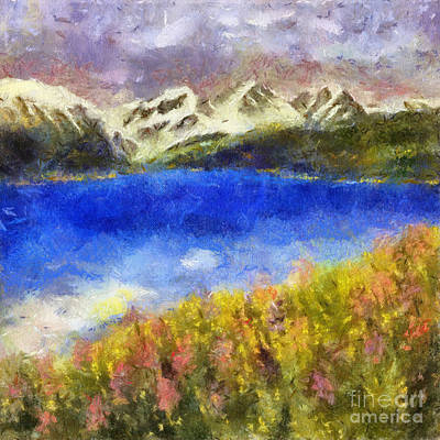 Painting - Snowcapped Blue Lake by Teri Brown