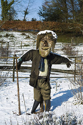 Snowcapped Scarecrow Art Print by Anne Gilbert