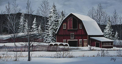 Blue Barn Doors Painting - Snowcover by Debbi Wetzel