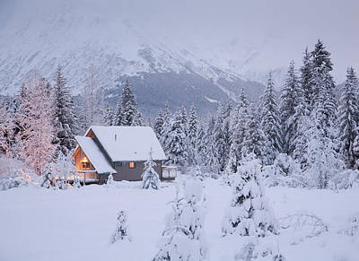 Christmas Lights Photograph - Snowcovered Home In A Wintry Meadow At by Jeff Schultz