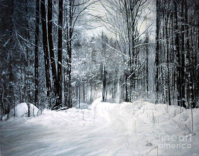 Winter Scenes In Oil Painting - Snow Covered Trees In Wisconsin by Lisa Alex Gray