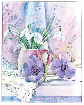 Snowdrops And Anemones Art Print by Julia Rowntree