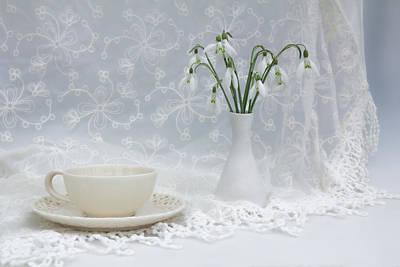 Snowdrops At Teatime Art Print by Ann Garrett