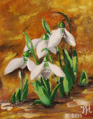 Art Print featuring the painting Snowdrops by Nina Mitkova