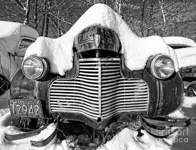 Oldtimers Photograph - Snowed In A Thick Blanket Of Snow Covering A Vintage Chevy by Edward Fielding