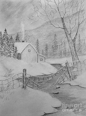 Drawing - Snowed In by Peggy Miller