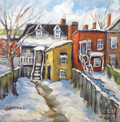 Montreal Street Life Painting - Snowed In Yards By Prankearts by Richard T Pranke