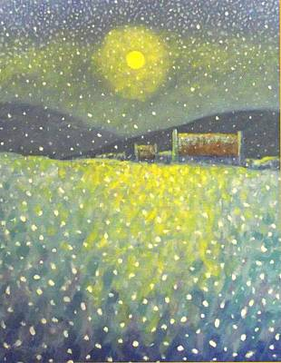Christmas Cards Painting - Snowfall County Wicklow  by John  Nolan