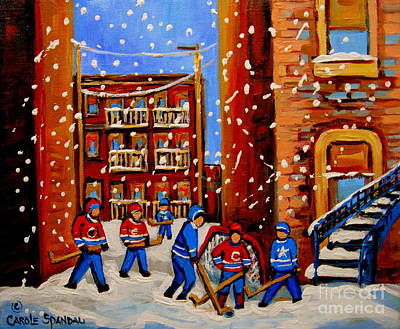 Montreal Art Verdun Street Scenes Painting - Snowfall Hockey Game Winter City Scene by Carole Spandau