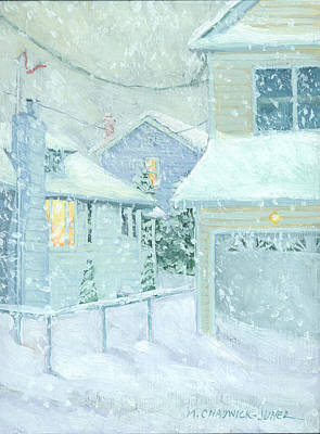 Winterscape Painting - Snowfall by Marguerite Chadwick-Juner