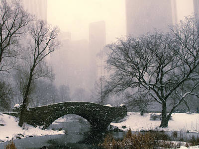 Photograph - Snowfall On Gapstow Bridge by Jessica Jenney