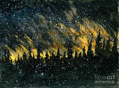 Snowfall On The Forest Art Print by R Kyllo