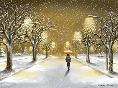Landscape Digital Painting - Snowfall by Veronica Minozzi