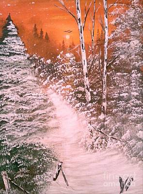 Snow Painting - Snow Falling At Sunset by Collin A Clarke