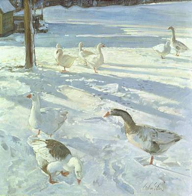 Snowfeeders, 1999 Oil On Canvas Art Print by Timothy Easton
